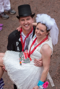 Paul Elliott and Laura Harvey celebrated their marriage after running the first half of the Virgin Money London Marathon.They went on to run the remainder of the race as husband and wife before they could enjoy their wedding reception, Sunday 26th April 2015. Photo: Dillon Bryden for Virgin Money London Marathon For more information please contact Penny Dain at pennyd@london-marathon.co.uk